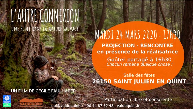"""Projection du film """"L'autre connexion"""" en présence de la réalisatrice le 24 mars à St Julien"""